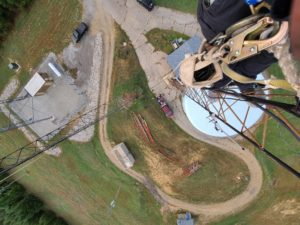 Looking down from the tower. Photo courtesy Dennis KR8U.